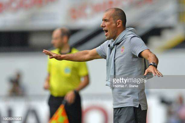 Head coach Leonardo Jardim of Monaco reacts during the friendly match between SC Paderborn and AS Monaco at Benteler Arena on July 21, 2018 in...
