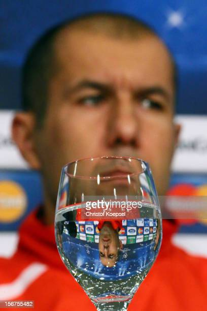 Head coach Leonardo Jardim of Olympiacos Piraeus attends the press conference at Veltins Arena ahead of the UEFA Champions League group B match...