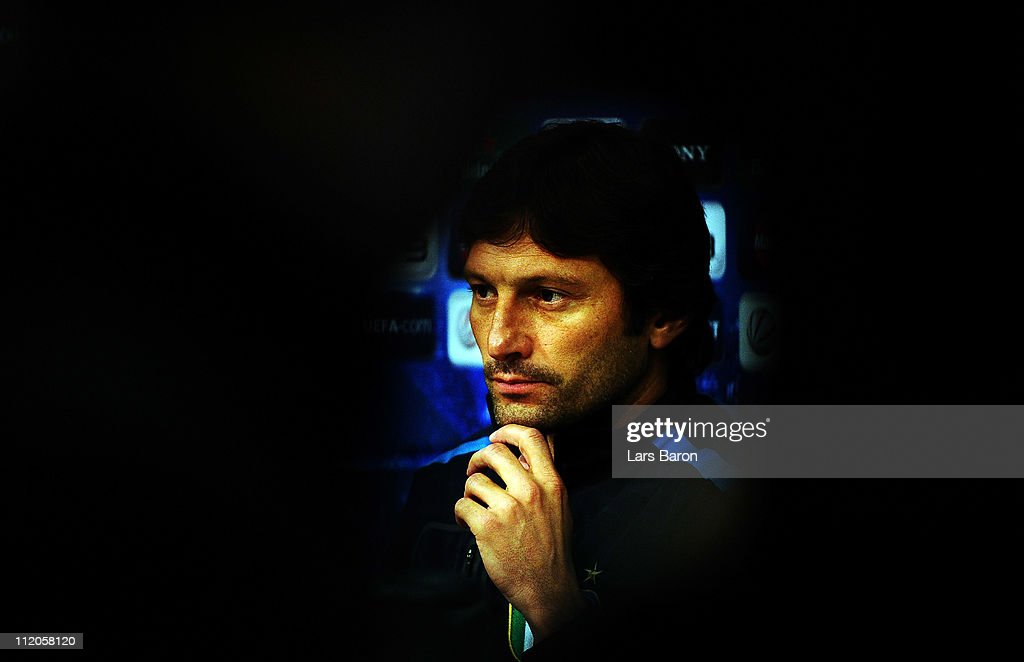 Head coach Leonardo looks on during a Inter Milan press conference ahead of the UEFA Champions League quarter final second leg match against FC Schalke 04 at Veltins Arena on April 12, 2011 in Gelsenkirchen, Germany.