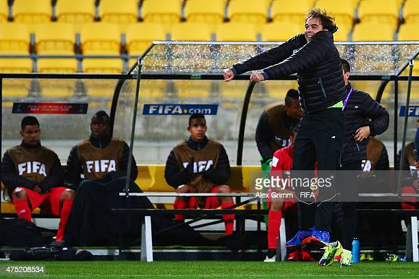 Head coach Leonardo Pipino of Panama celebrates after the final whistle of the FIFA U20 World Cup New Zealand 2015 Group B match between Argentina...