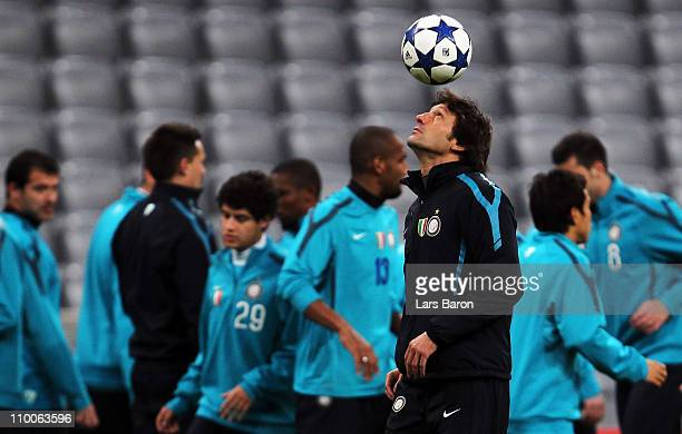 Head coach Leonardo plays with a ball during a Inter Milan training session ahead of the UEFA Champions League Round of 16 second leg match against...