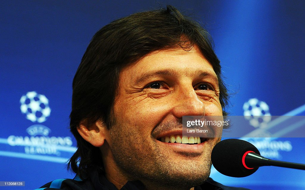 Head coach Leonardo smiles during a Inter Milan press conference ahead of the UEFA Champions League quarter final second leg match against FC Schalke 04 at Veltins Arena on April 12, 2011 in Gelsenkirchen, Germany.