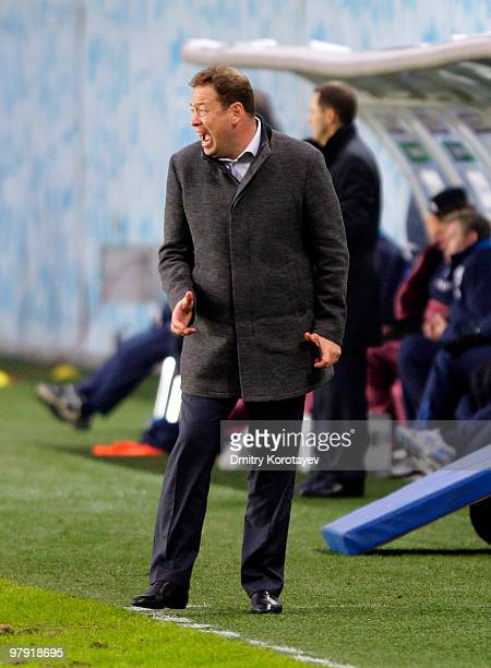 Head coach Leonid Slutsky of PFC CSKA Moscow gestures during the Russian Football League Championship match between PFC CSKA Moscow and FC Dynamo...