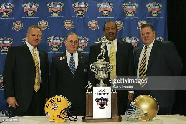 Head coach Les Miles of Louisiana State University Allstate Sugar Bowl President James Landis Field Vice President Allstate Insurance Company Ron...
