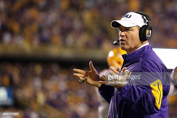 Head coach Les Miles of the LSU Tigers look on during the game against the Texas AM Aggies at Tiger Stadium on November 28 2015 in Baton Rouge...