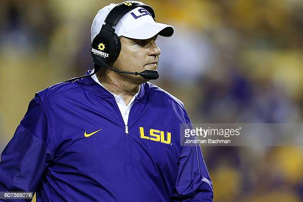 Head coach Les Miles of the LSU Tigers reacts during the second half of a game against the Mississippi State Bulldogs at Tiger Stadium on September...