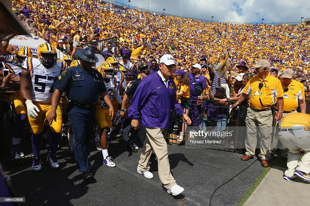 Head coach Les Miles of the LSU Tigers walks on the field before play against the Auburn Tigers at Tiger Stadium on September 19, 2015 in Baton Rouge, Louisiana.