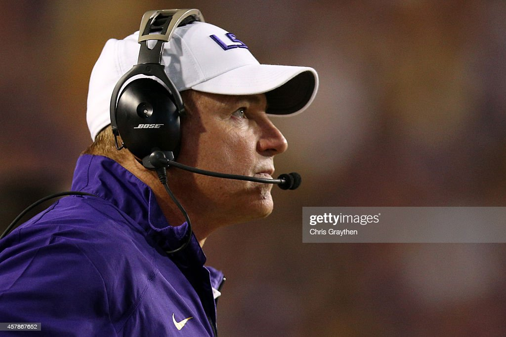 Head coach Les Miles of the LSU Tigers watches a play against the Mississippi Rebels at Tiger Stadium on October 25, 2014 in Baton Rouge, Louisiana.