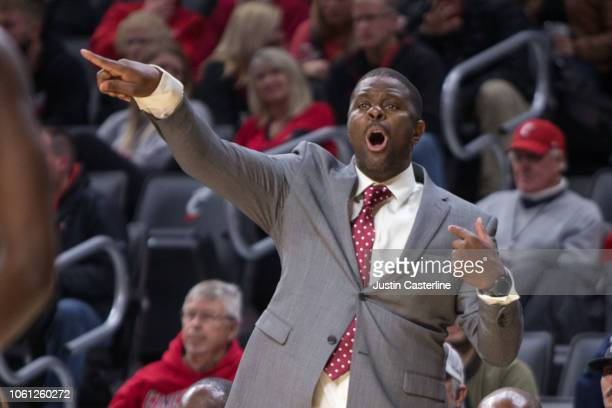 Head coach LeVelle Moton of the North Carolina Central Eagles directs his team in the game against the Cincinnati Bearcats at Fifth Third Arena on...