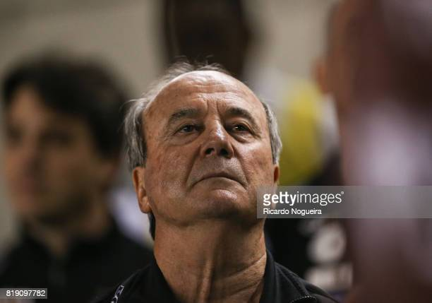 Head coach Levir Culpi of Santos looks on during the national anthem prior before the match between Santos and Chapecoense as a part of Campeonato...