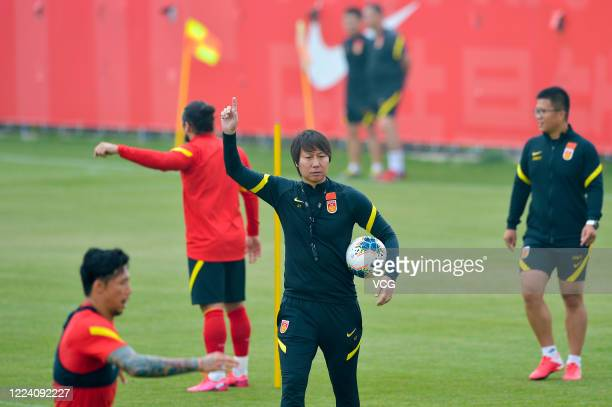Head coach Li Tie of China National Football Team attends a training session at Tikae Football Park on May 11, 2020 in Shanghai, China.