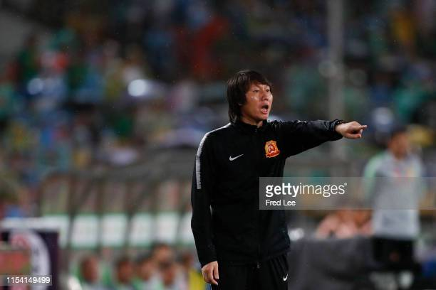 Head coach Li Tie of Wuhan Zall reacts during 2019 China Super League between Beijing Guoan and Wuhan Zall at Beijing Workers Stadium on July 6, 2019...