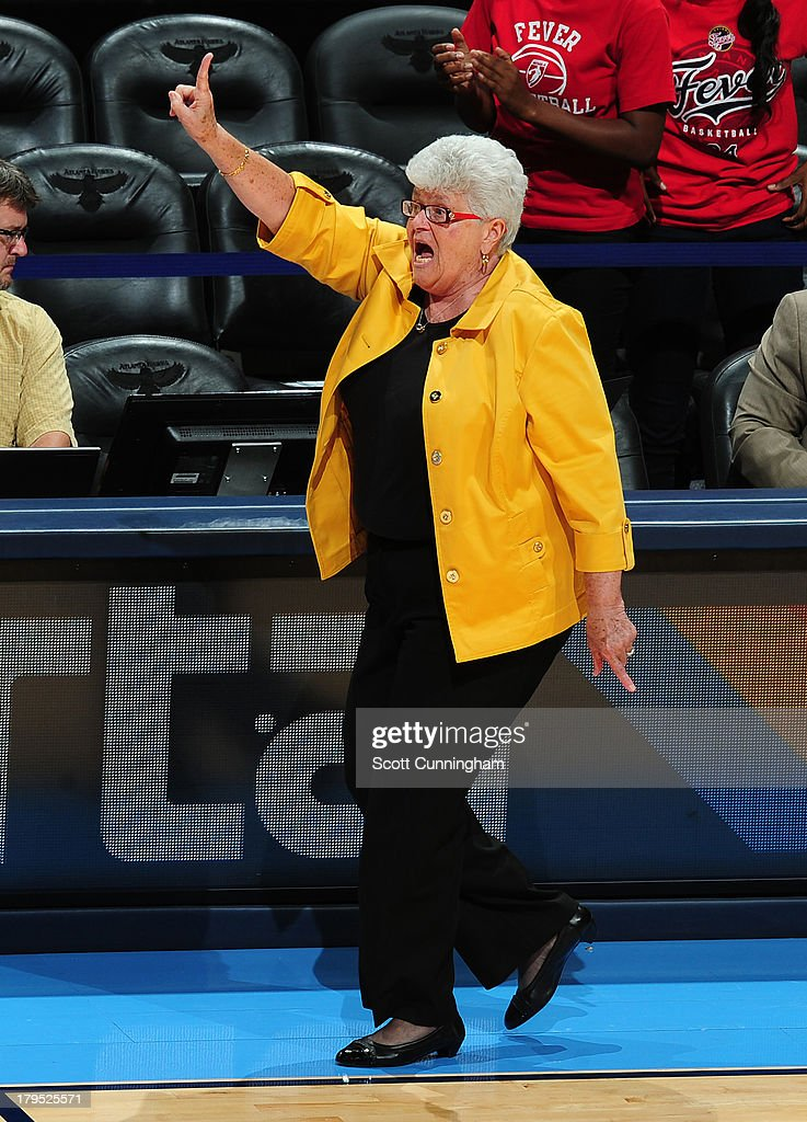 Head Coach Lin Dunn of the Indiana Fever calls a play against the Atlanta Dream at Philips Arena on September 4 2013 in Atlanta, Georgia.