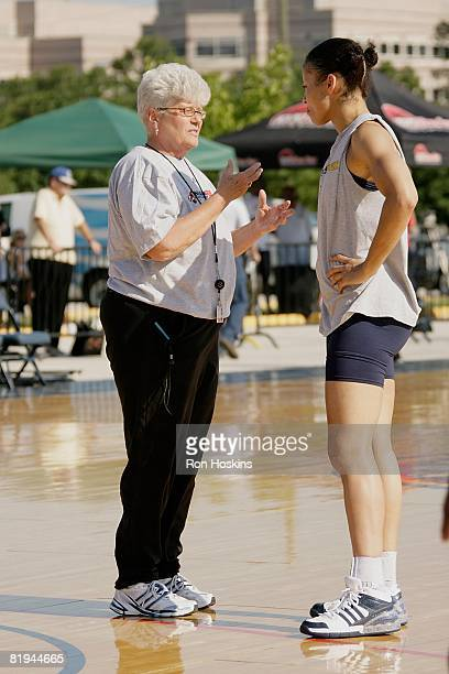 Head Coach Lin Dunn of the Indiana Fever dicusses a play with Allison Feaster during the WNBA practice on July 10 2008 near Conseco Fieldhouse in...