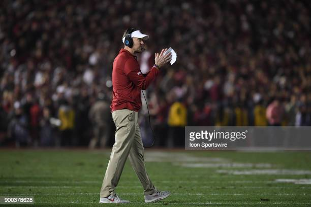 Head Coach Lincoln Riley of the Oklahoma Sooners during the 4th quarter of the College Football Playoff Semifinal at the Rose Bowl Game between the...