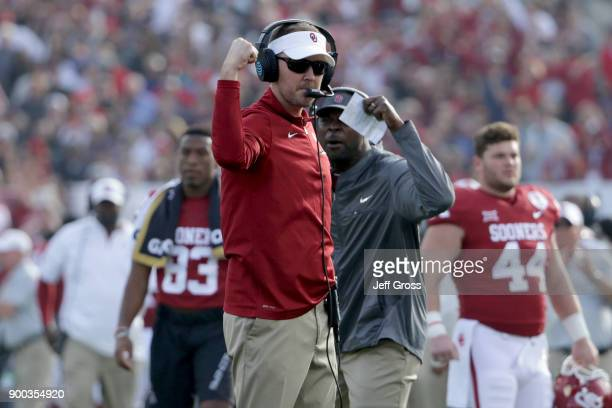 Head coach Lincoln Riley of the Oklahoma Sooners reacts on the sidelines in the 2018 College Football Playoff Semifinal Game against the Georgia...