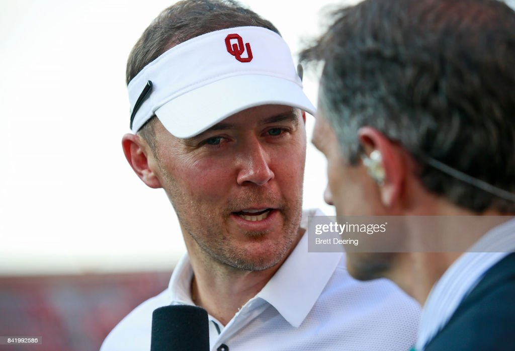 Head Coach Lincoln Riley of the Oklahoma Sooners speaks to the media after the game against the UTEP Miners at Gaylord Family Oklahoma Memorial Stadium on September 2, 2017 in Norman, Oklahoma. Oklahoma defeated UTEP
