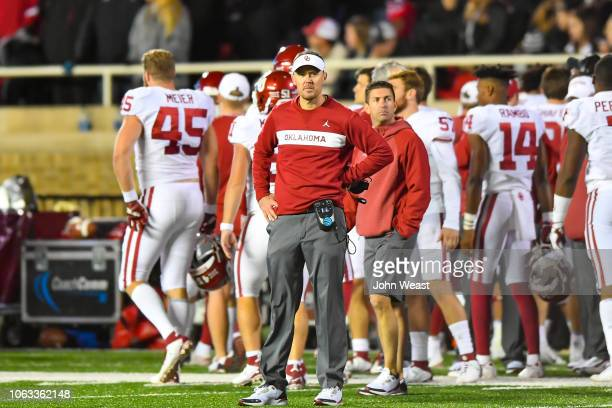 Head coach Lincoln Riley of the Oklahoma Sooners stands on the sidelines during the game against the Texas Tech Red Raiders on November 3 2018 at...