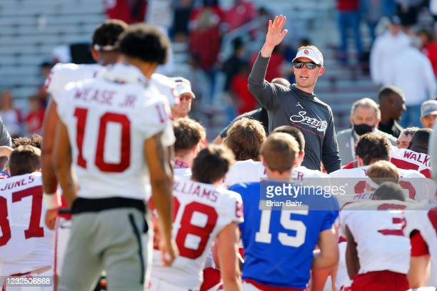 Head coach Lincoln Riley of the Oklahoma Sooners talks to his team after their spring game at Gaylord Family Oklahoma Memorial Stadium on April 24,...