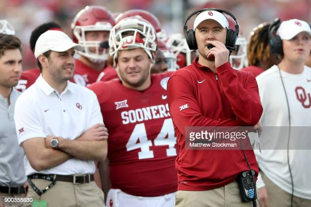 Head Coach Lincoln Riley of the Oklahoma Sooners watches from the sidelines during the 2018 College Football Playoff Semifinal Game against the...