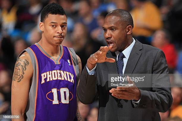 Head coach Lindsey Hunter of the Phoenix Suns directs Diante Garrett of the Phoenix Suns against the Denver Nuggets at the Pepsi Center on April 17...