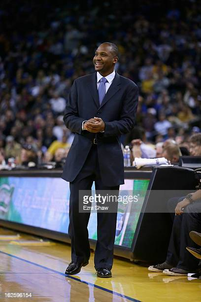 Head coach Lindsey Hunter of the Phoenix Suns stands on the sideline during their game against the Golden State Warriors at Oracle Arena on February...