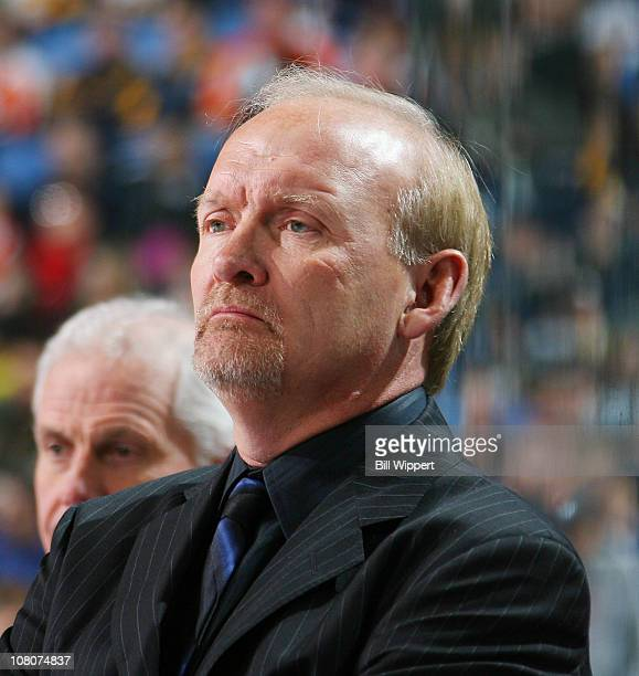 Head coach Lindy Ruff of the Buffalo Sabres watches the action against the  Philadelphia Flyers at