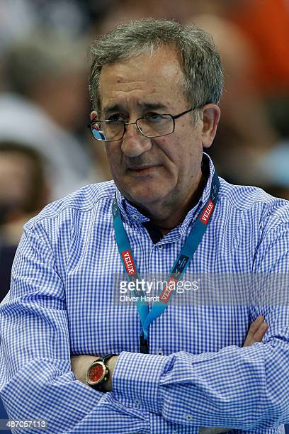 Head coach Lino Cervar of Metalurg appears frustrated during the Velux EHF Champions League quarter final handball match between THW Kiel and MKD HC...