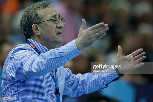 Head coach Lino Cervar of Metalurg gesticulated during the Velux EHF Champions League quarter final handball match between THW Kiel and MKD HC...