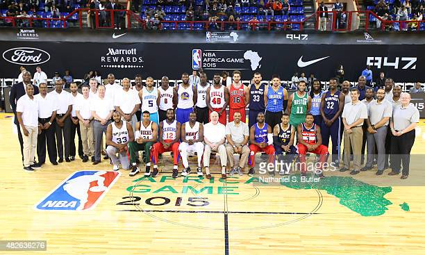 Head Coach Lionel Hollins and Assistant Coach Brad Stevens of Team World with players Chris Paul Bradley Beal Trey Burke Kenneth Faried Marc Gasol...