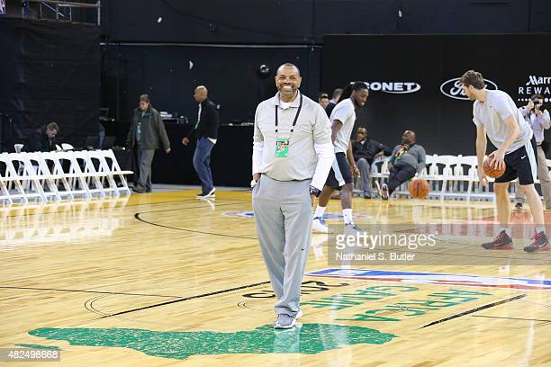 Head Coach Lionel Hollins of Team World smiles during practice for the NBA Africa Game 2015 as part of Basketball Without Borders on July 31 2015 at...