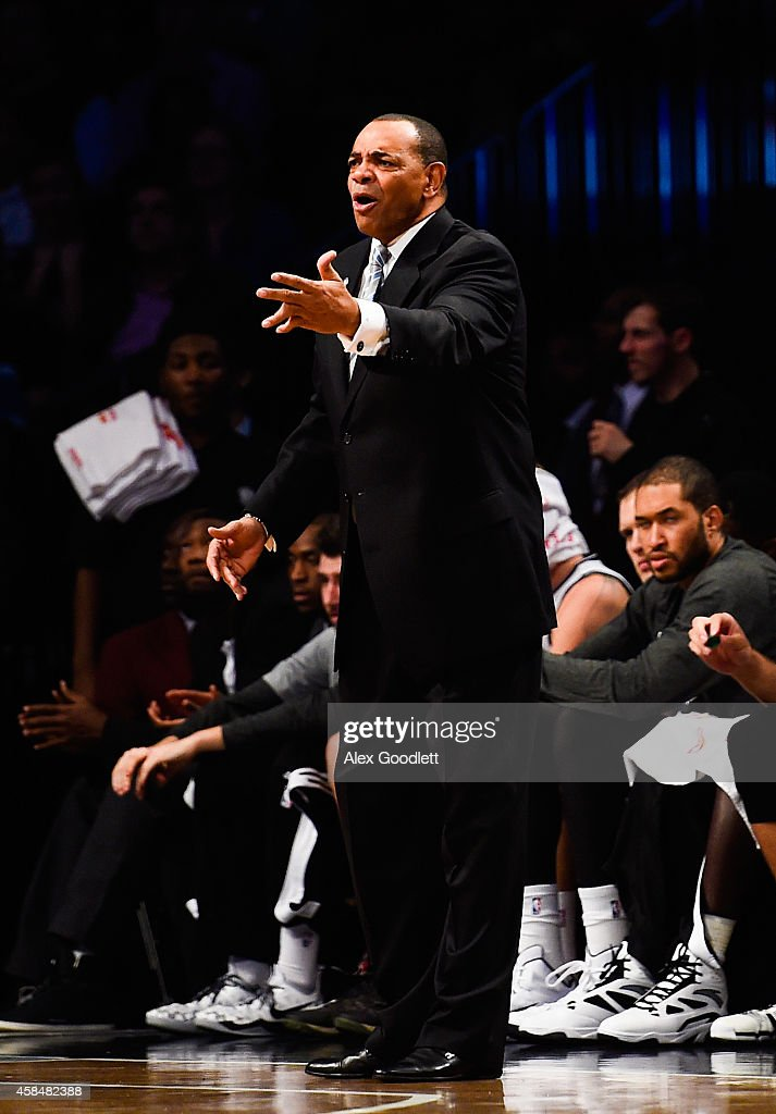 Head coach Lionel Hollins of the Brooklyn Nets yells to players in the second half during a game against the Minnesota Timberwolves at the Barclays Center on November 5, 2014 in the Brooklyn borough of New York City.