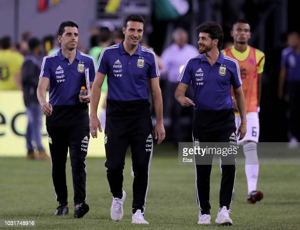 Head coach Lionel Scaloni of Argentina walks on the field prior to the game against Colombia at MetLife Stadium on September 11 2018 in East...