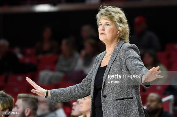 Head coach Lisa Bluder of the Iowa Hawkeyes watches the game against the Maryland Terrapins at Xfinity Center on January 4 2018 in College Park...