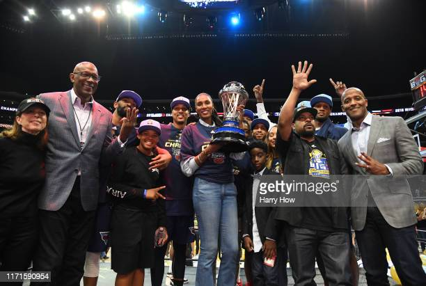 Head coach Lisa Leslie and the Triplets celebrate with the trophy after defeating the Killer 3s to win the BIG3 Championship at Staples Center on...