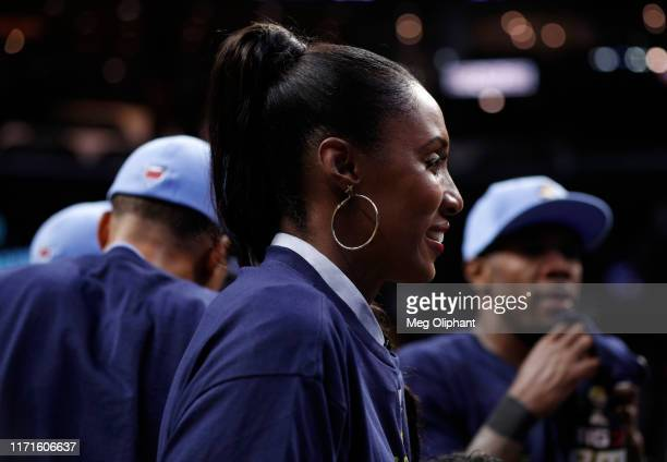 Head coach Lisa Leslie of the Triplets smiles after her team defeated the Killer 3s to win the BIG3 Championship at Staples Center on September 01,...