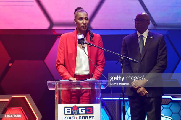 Head coach Lisa Leslie of the Triplets speaks during the BIG3 Draft at the Luxor Hotel Casino on May 01 2019 in Las Vegas Nevada