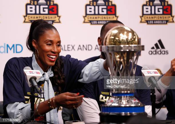Head coach Lisa Leslie of the Triplets speaks to the media after her team defeated the Killer 3s to win the BIG3 Championship at Staples Center on...