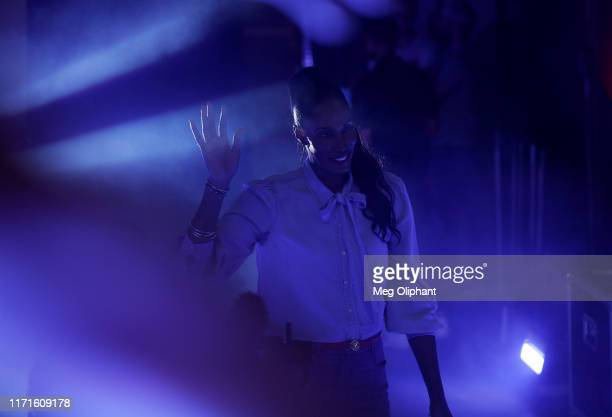 Head coach Lisa Leslie of the Triplets walks into the arena before the start of the BIG3 Championship game against the Killer 3s at Staples Center on...