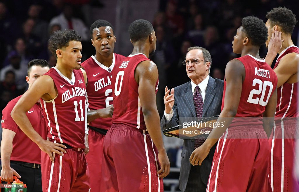 Head coach Lon Kruger of the Oklahoma Sooners instructs his team during a timeout against the Kansas State Wildcats during the second half on January 16, 2018 at Bramlage Coliseum in Manhattan, Kansas.
