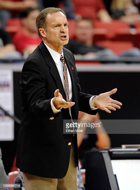 Head coach Lon Kruger of the UNLV Rebels argues a call during a quarterfinal game of the Conoco Mountain West Conference Basketball tournament...