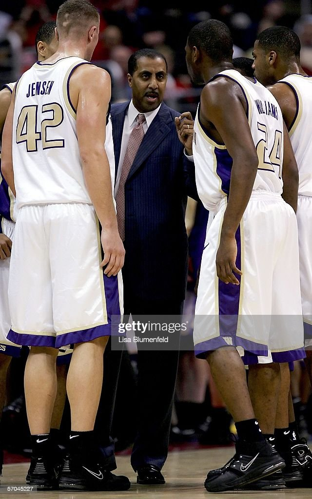 Head coach Lorenzo Romar of the Washington Huskies talks to his team during a time out in the first half of the game against the Oregon Ducks in the quarterfinals of the 2006 Pacific Life Pac-10 Men's Basketball Tournament on March 9, 2006 at Staples Center in Los Angeles, California.