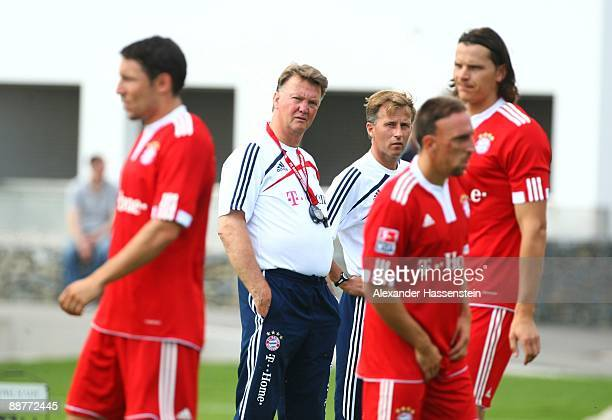 Head coach Louis van Gaal and assistant coach Andries Jonker look on during the FC Bayern Muenchen training session at Bayern's trainings ground...
