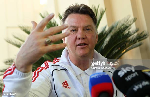 Head coach Louis van Gaal attends the FC Bayern Muenchen press conference at Hotel Grand Hyatt on January 7 2011 in Doha Qatar