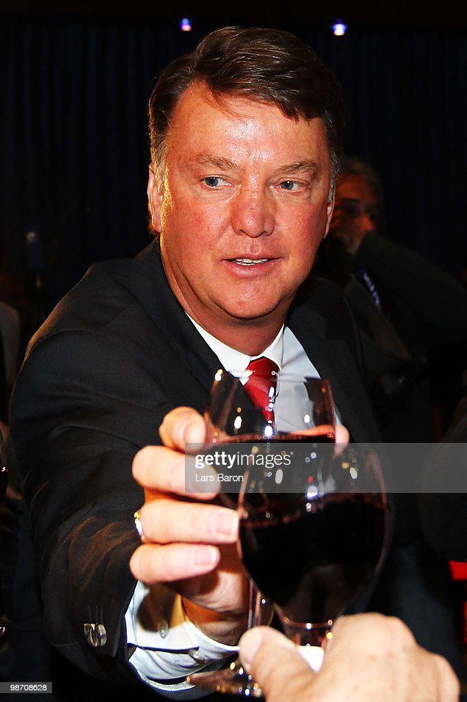 Head coach Louis van Gaal drinks a glass of red vine at the Champions League dinner after reaching the final following their 3-0 victory of the UEFA Champions League semi final second leg match between Olympique Lyonnais and Bayern Muenchen at the Stade De Gerland on April 27, 2010 in Lyon, France.