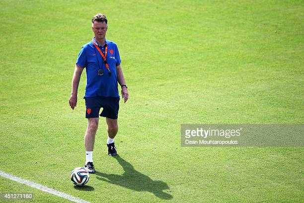 Head Coach Louis van Gaal looks on during the Netherlands training session at the 2014 FIFA World Cup Brazil held at the Estadio Jose Bastos Padilha...