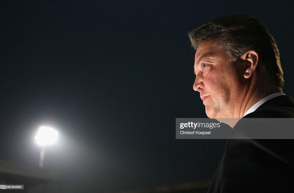Head coach Louis van Gaal of Bayern looks on prior to the Bundesliga match between FSV Mainz 05 and FC Bayern Muenchen at Bruchweg Stadium on February 19, 2011 in Mainz, Germany.