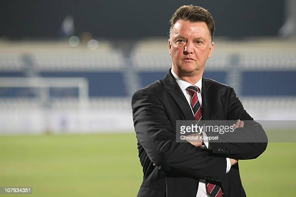 Head coach Louis van Gaal of Bayern looks thoughtful prior to the friendly match between Al-Wakrah SC and FC Bayern Muenchen at Al Khor Stadium on...