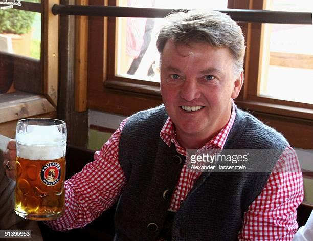 Head coach Louis van Gaal of Bayern Muenchen attends the Oktoberfest beer festival at the Kaefer Wiesnschaenke tent on October 4 2009 in Munich...