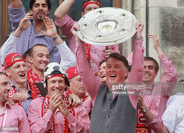 Head coach Louis van Gaal of Bayern Muenchen celebrates the German championship title on the balcony of the town hall on May 9 2010 in Munich Germany
